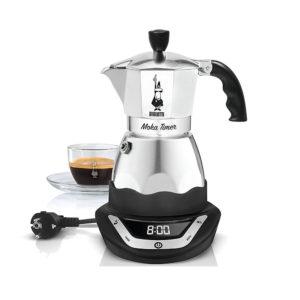 Bialetti 6093 Easy Timer Cafetiere italienne electrique en inox avec tasse de café moka