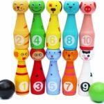 Toys of Wood Oxford, 12 quilles en bois colorées